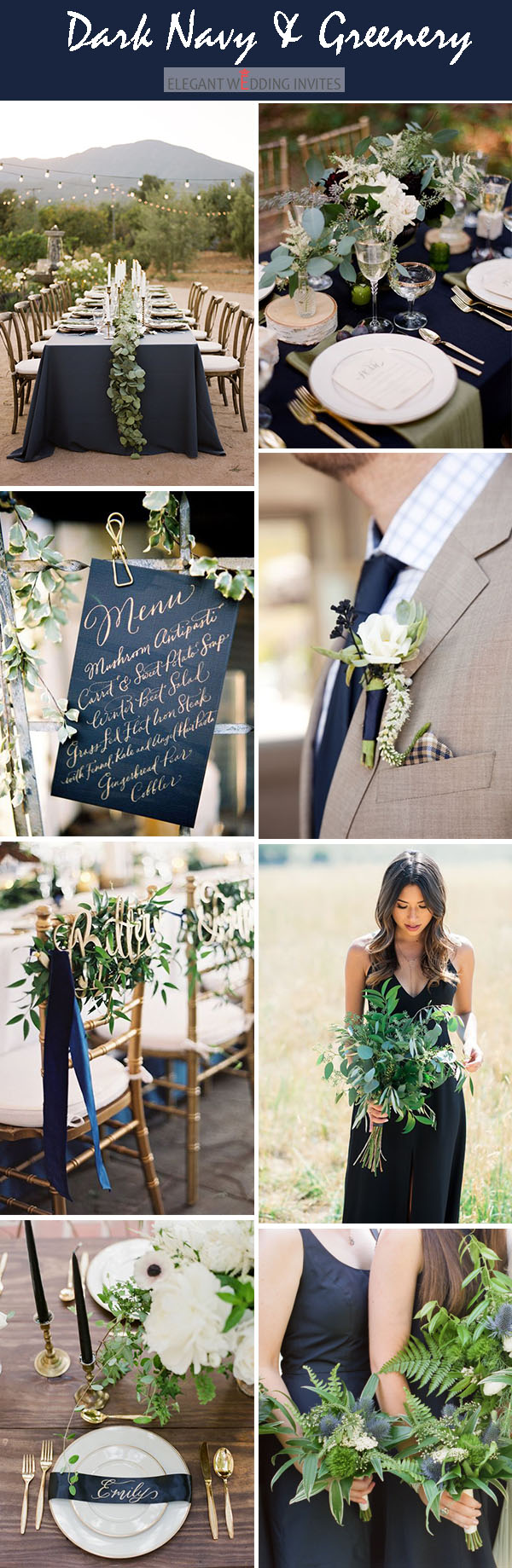dark navy and greeenery classic wedding colors