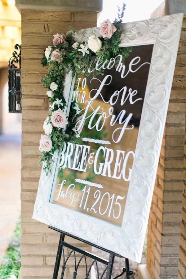 elegant blush rose and greenery decorated mirror wedding sign idea