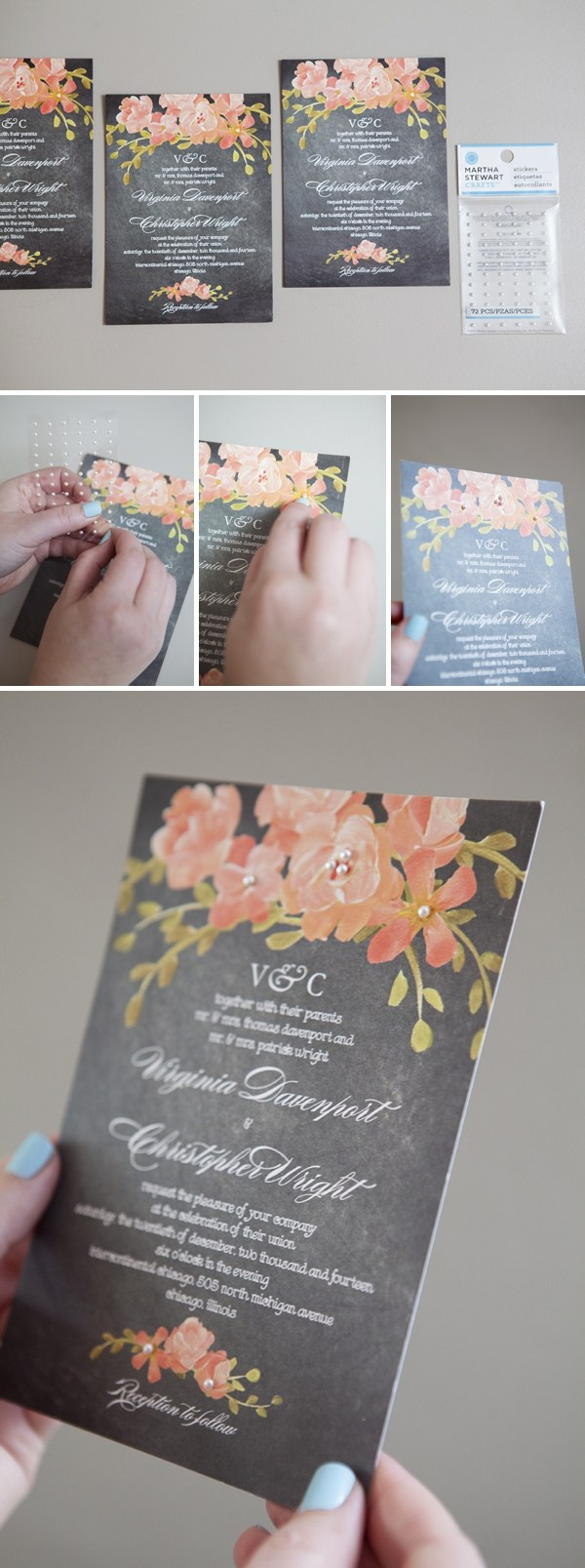 invitation with little pearl stickers