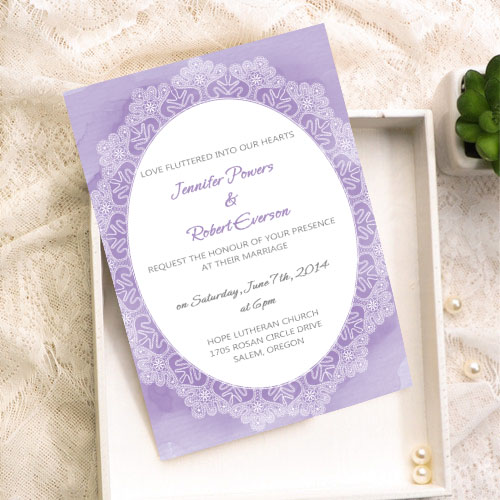 lavender lace printed wedding invitations
