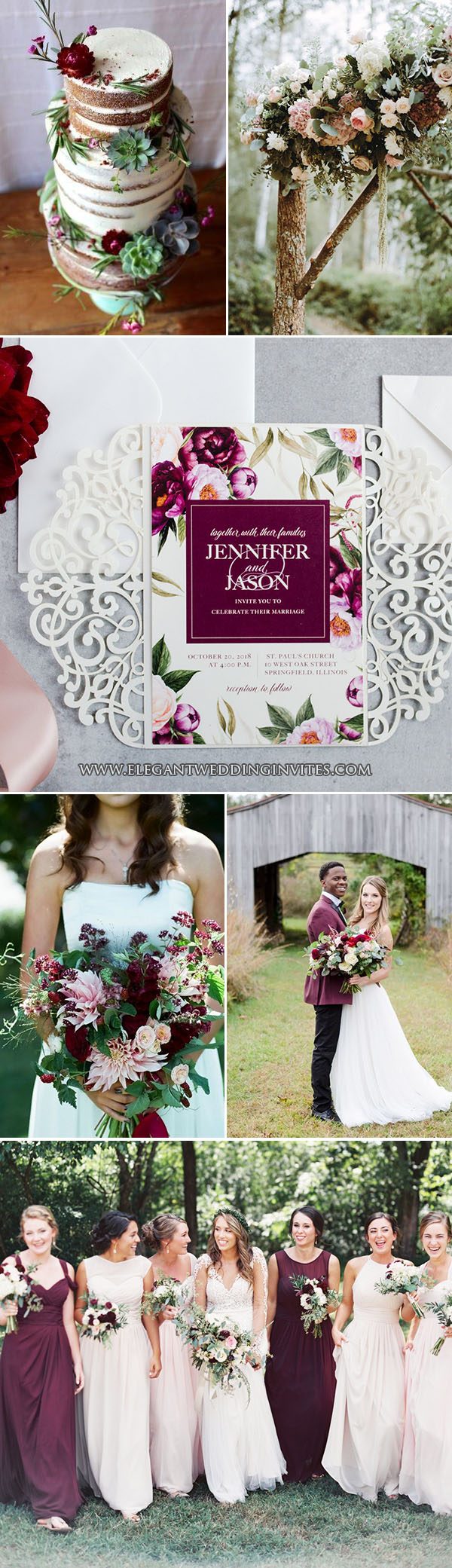 lush floral burgundy woodland rustic wedding colors