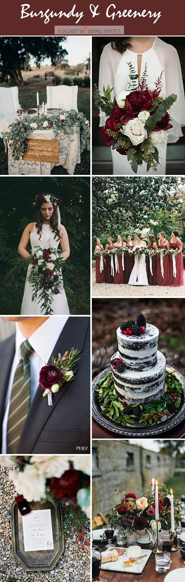 moody dark red organic woodland wedding color palette