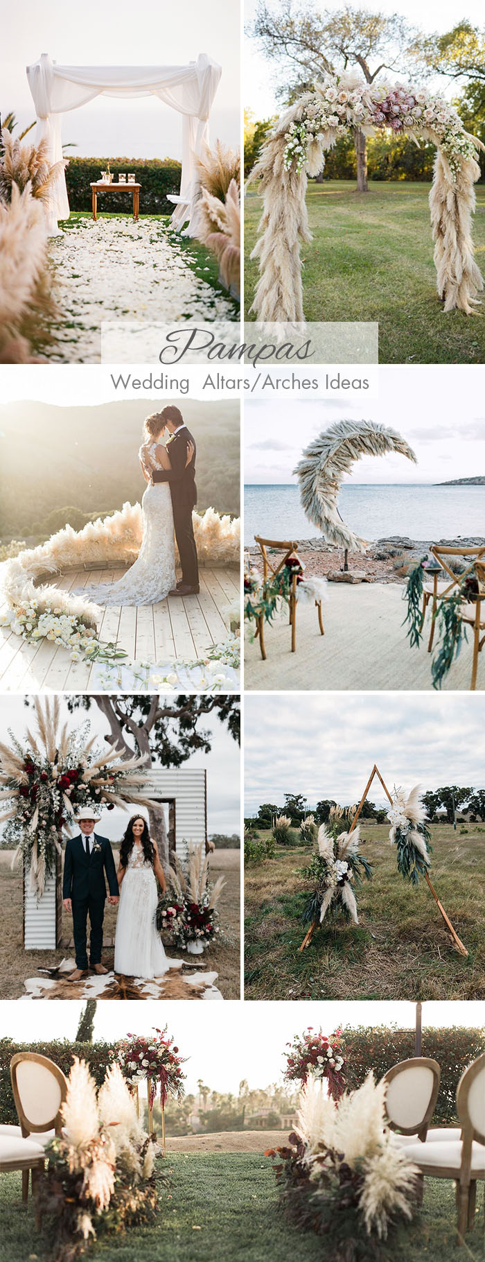 pampas grass wedding ceremony arch and altar ideas