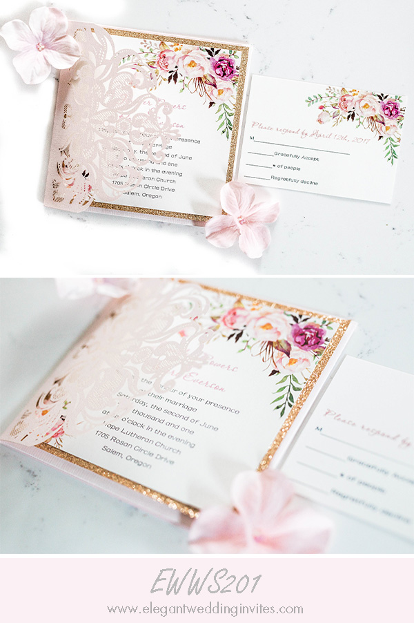 romantic blush pink floral laser cut wedding invitation with glitter bottom card