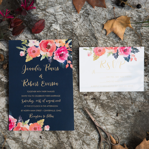 romantic navy and coral watercolor wedding invitation card