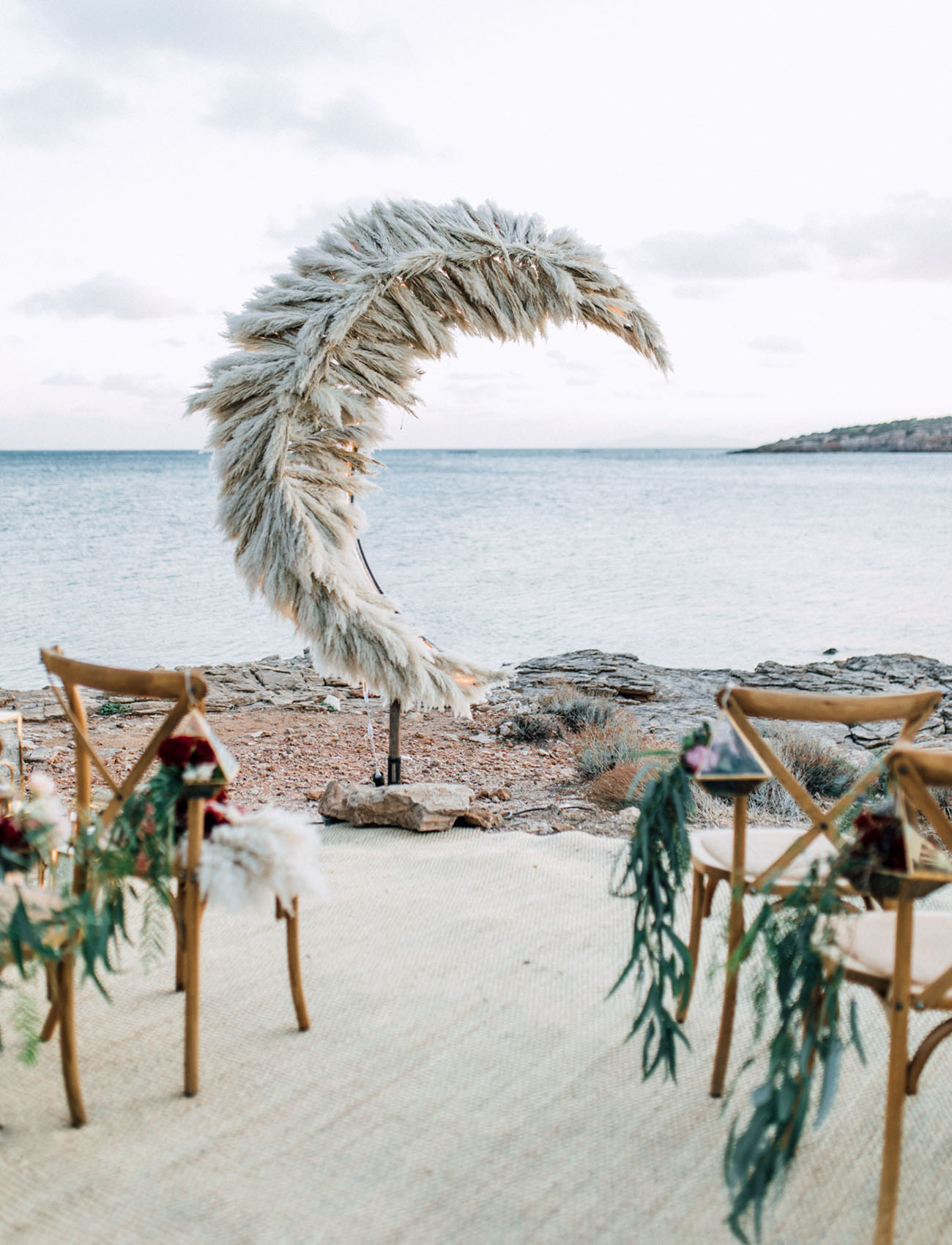 romantic pampas grass moon beach wedding arch ideas
