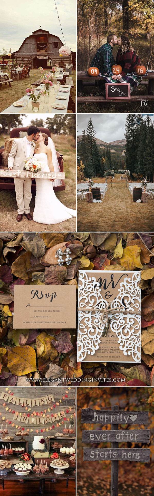 rustic country fall & autumn wedding party ideas