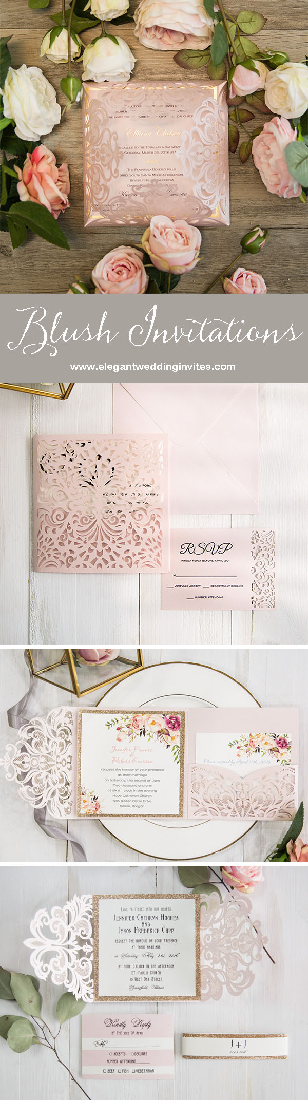 stunning blush wedding invitations with metallic accents for blush weddings