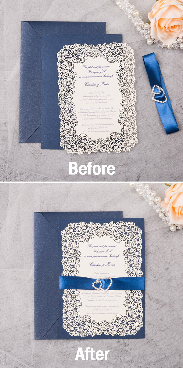 the before and after image of the blue DIY invitation