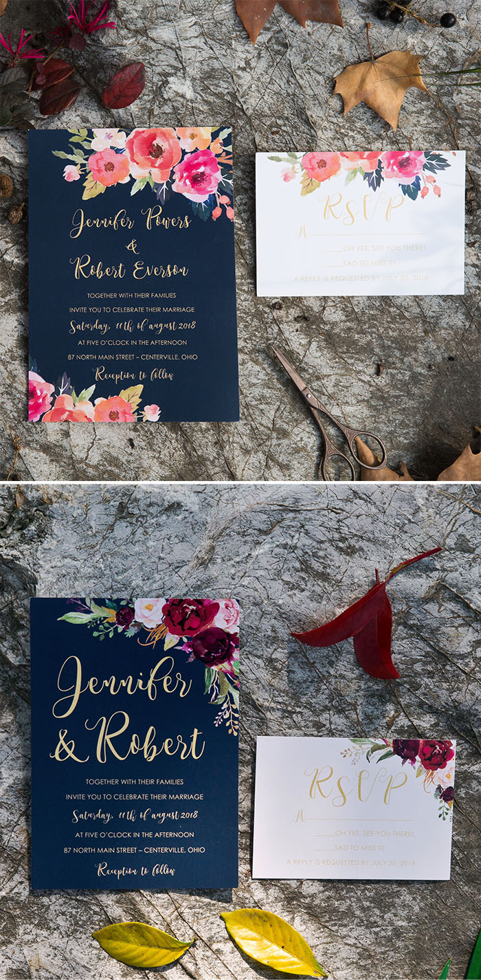 trendy watercolor wedding invitation cards from Elegant Wedding Invites