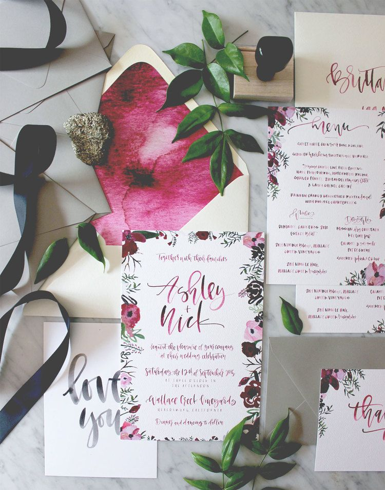 watercolor calligraphy and floral wedding invitations