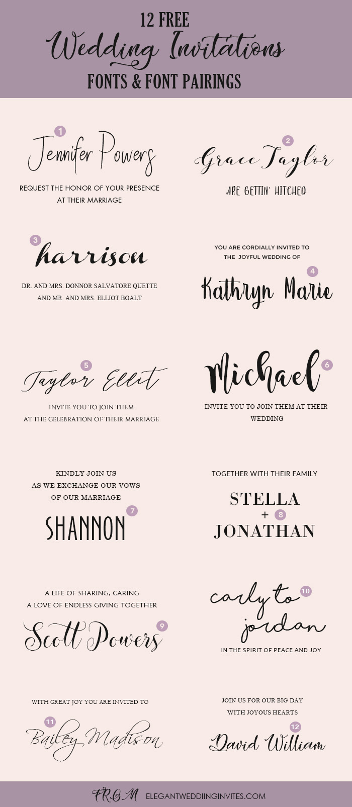 Wedding Invitation Fonts.Wedding Invitation Font Pairing Guide With Free Killer Fonts To