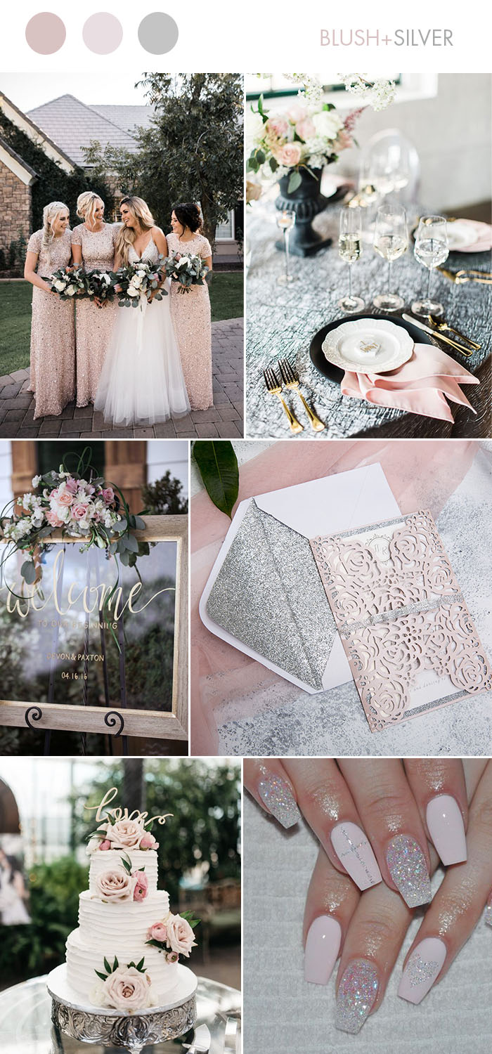 Blush Pink and Glitter Silver Glam Wedding Color Ideas