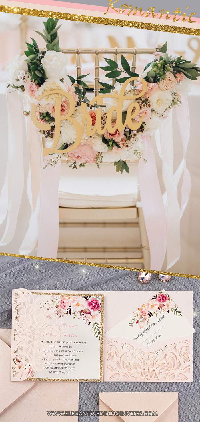 Blush, grey and glitter gold romantic and glamorous wedding colors