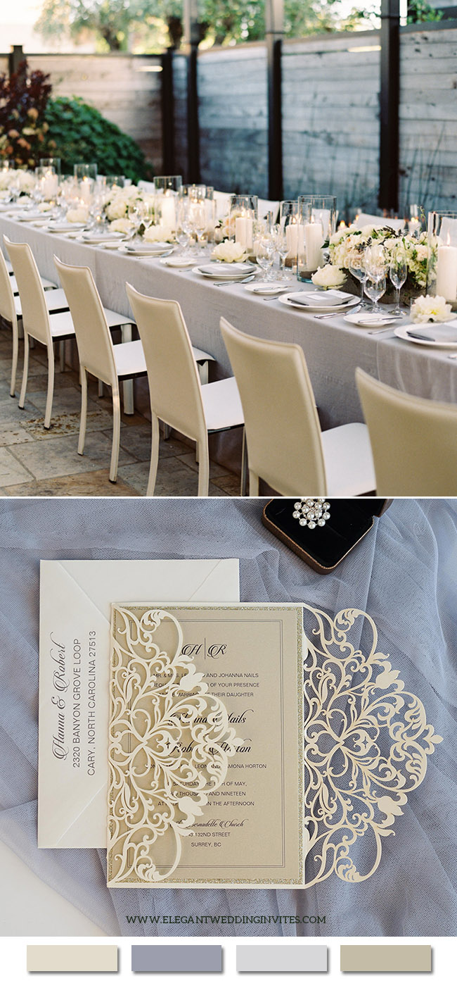 Elegant Champagne and Grey Neutral Wedding Color Ideas