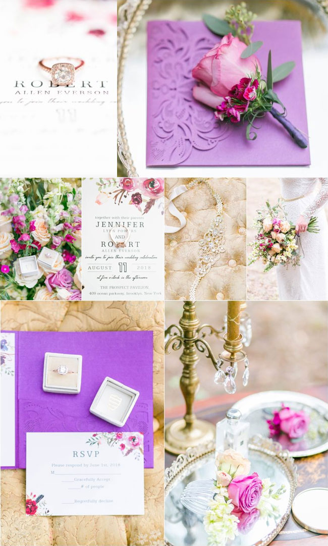 Elegant Magenta Shades of Purple Floral Pocket Laser Cut Wedding Invitations EWWS182