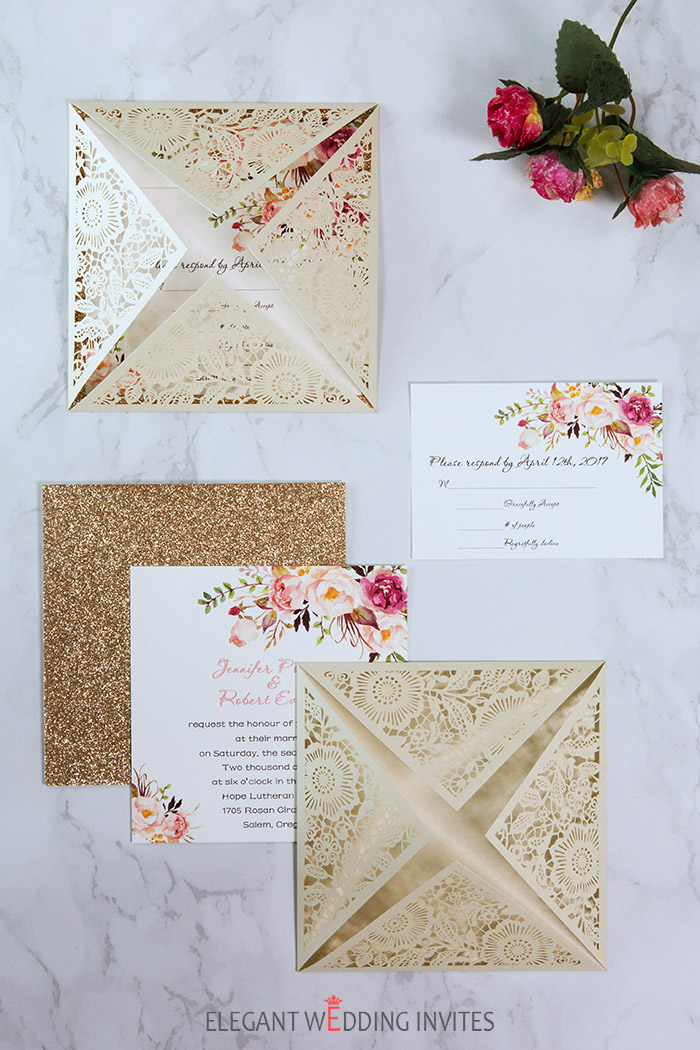 Elegant Wedding Invites Hot Sellers Ivory Glitter Wedding Invitation