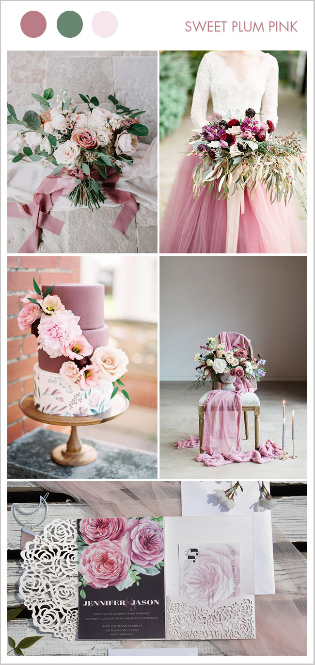 Lovely sweet plum pink summer and fall wedding color ideas