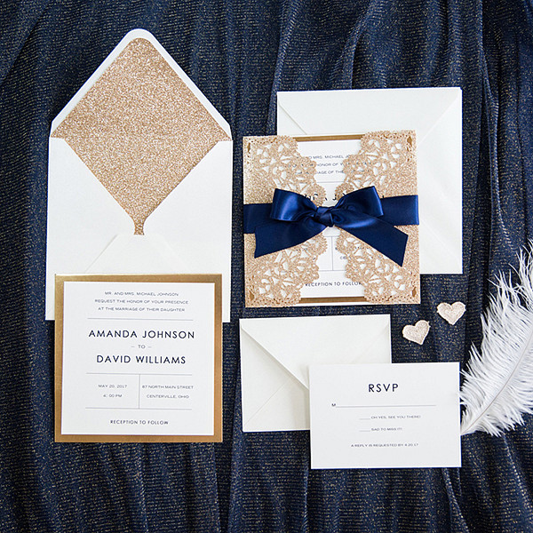 Wedding Ideas: Silver & Gold Invitations from Elegant Weddding Invites