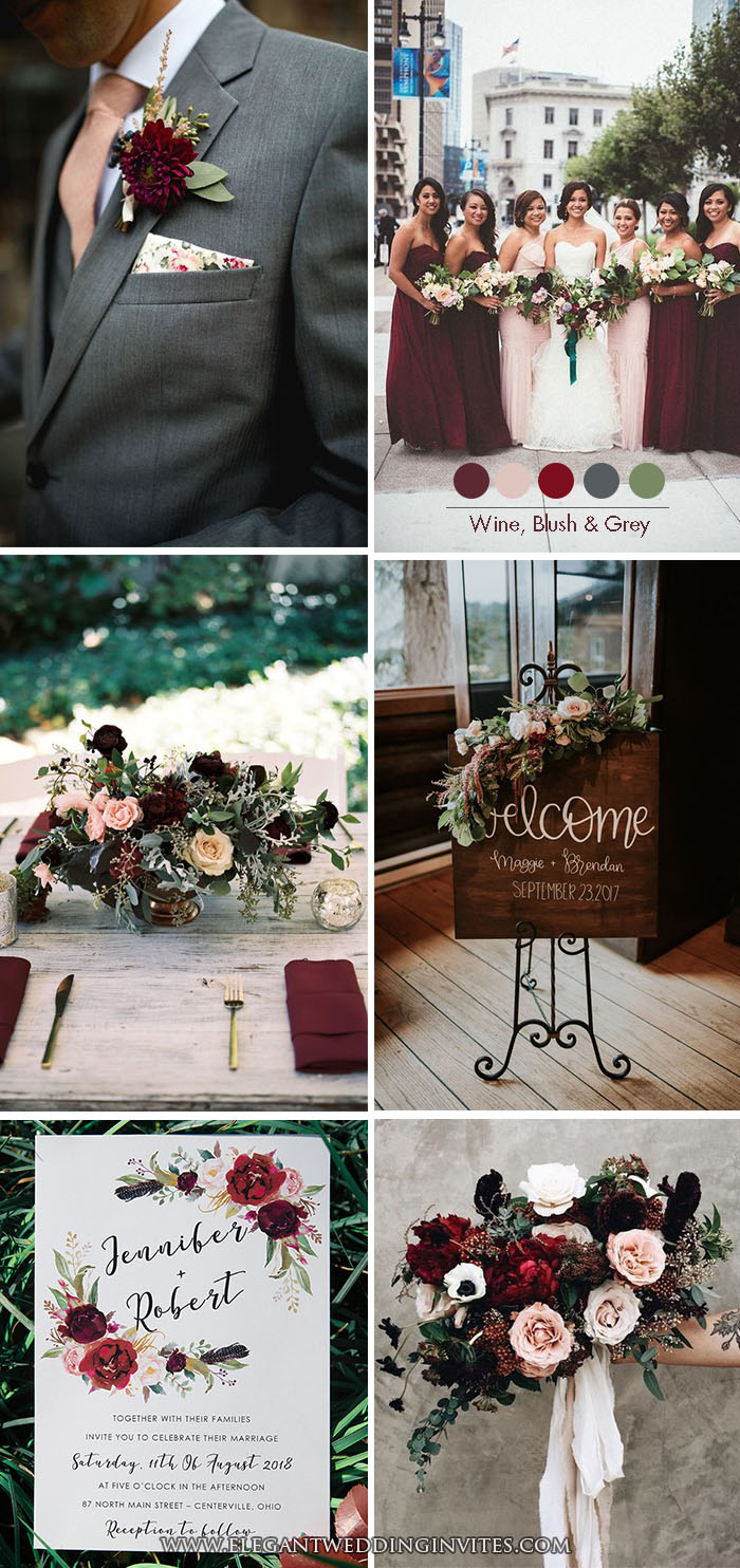 Moody Burgundy Wine,Blush and Dark Grey Classic Wedding Color Inspiration
