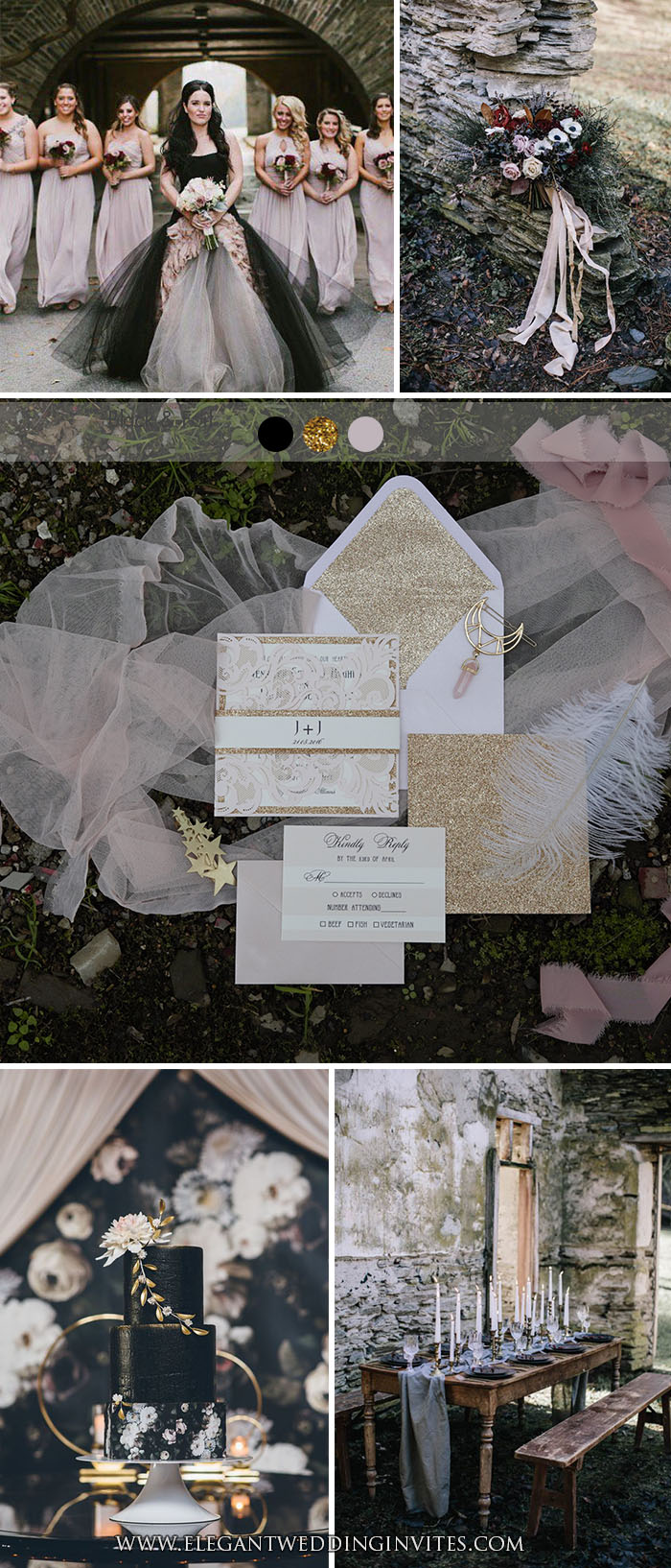 Moody Fairytale Blush and Gold Wedding Colors