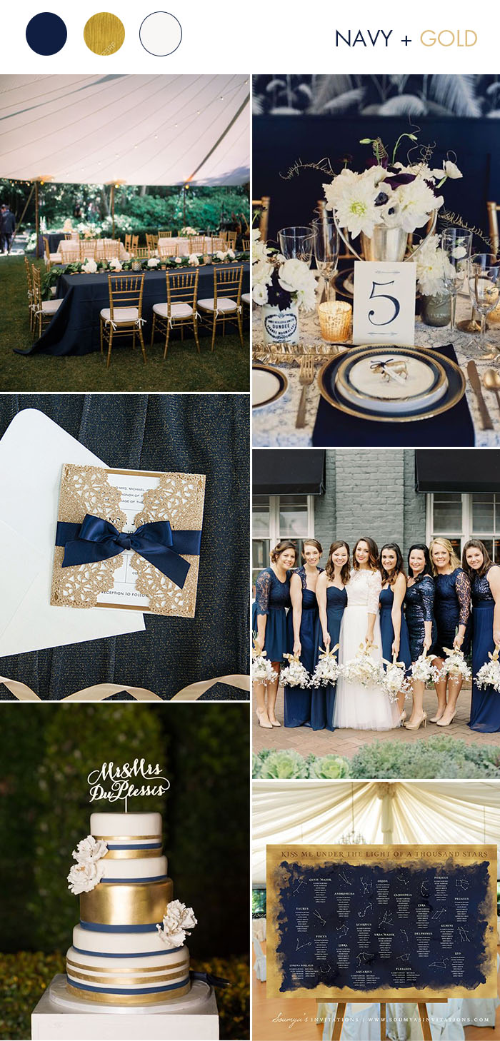 Navy Blue and Glitter Gold Classic Wedding Party Ideas