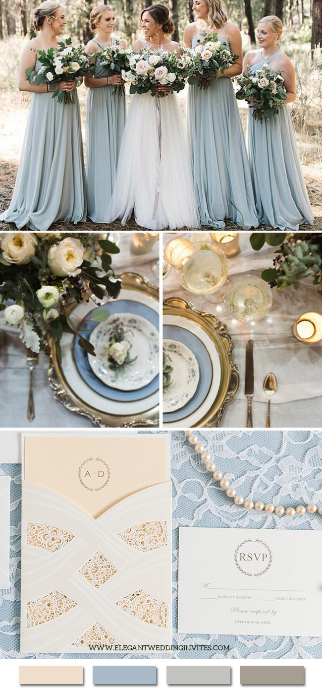 Romantic and Elegant Blue and Ivory Wedding Color Combos