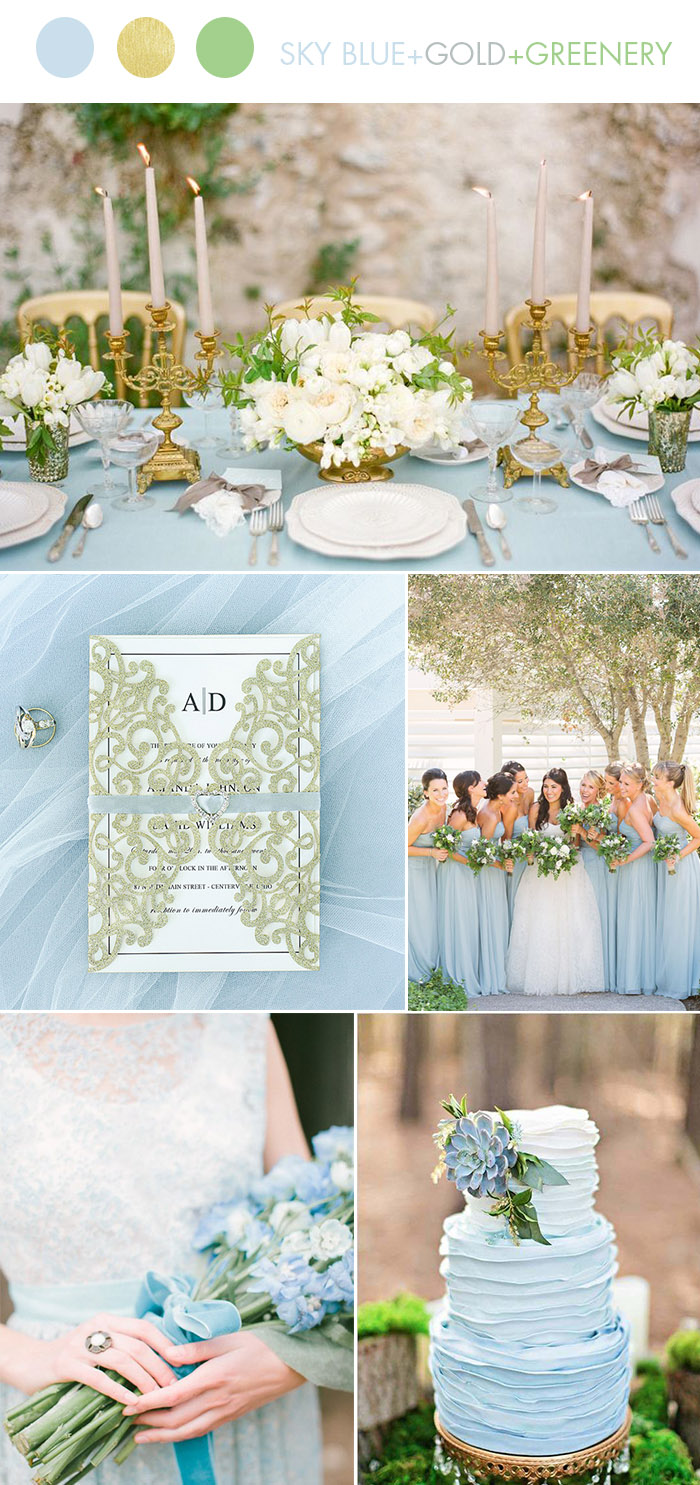 Sky Blue Gold Spring and Summer Wedding Colors with Matching Invitation Ideas