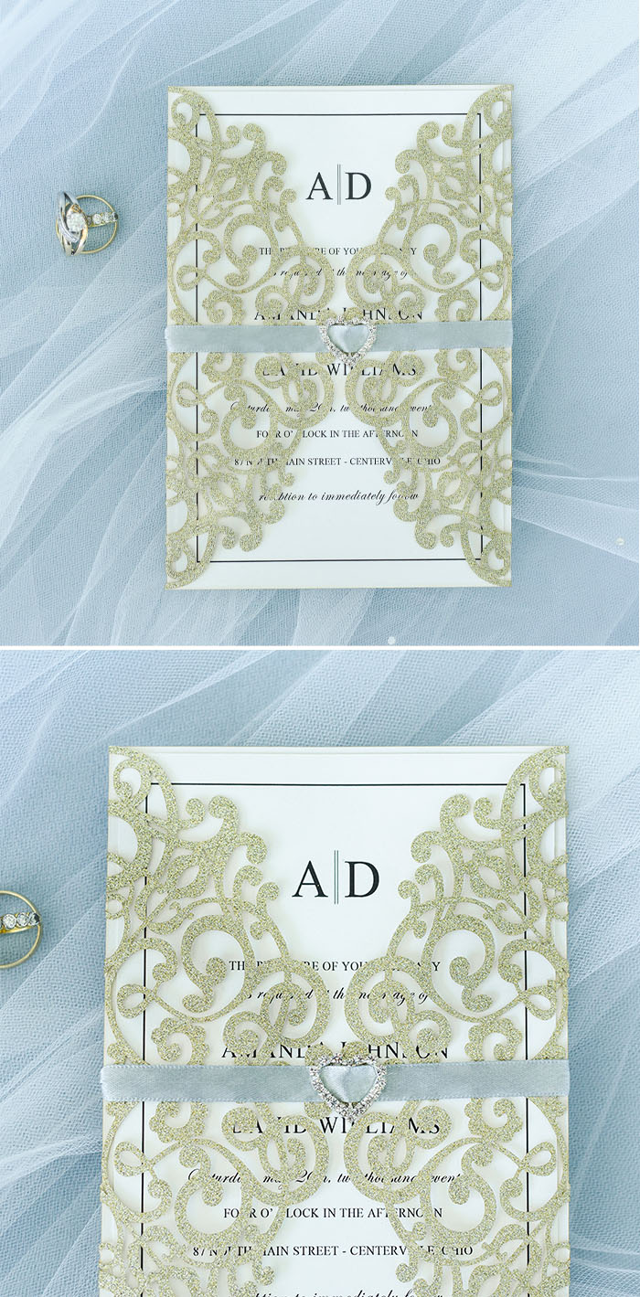 Sky Blue and Gold Glitter Glam Laser Cut Wedding Invites