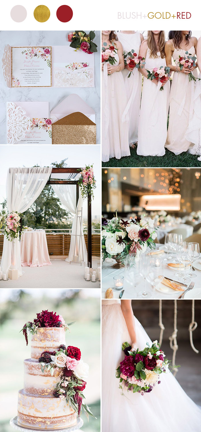 Stunning Blush,Gold and Burgundy Wedding Color Palette for All Seasons