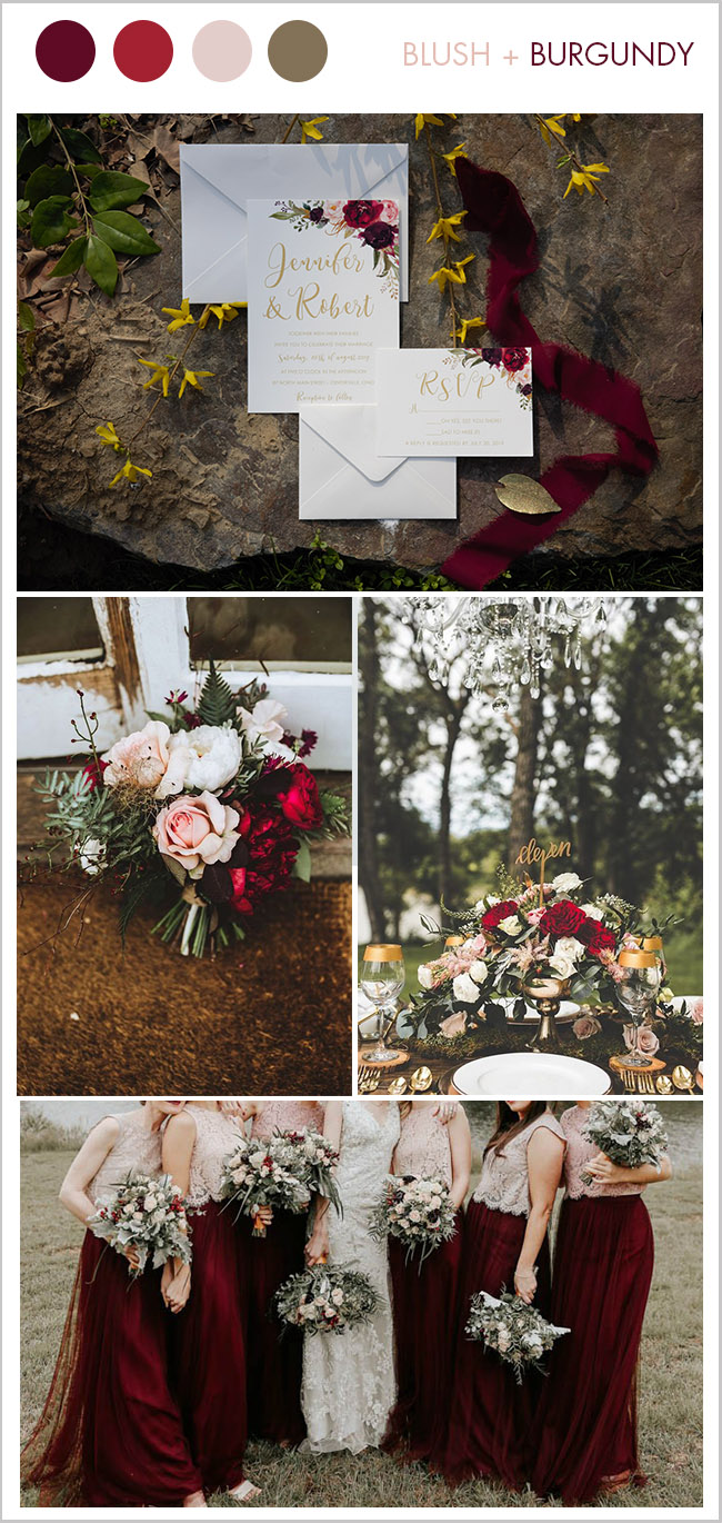 Stunning blush and burugundy fall wedding color trend for 2018