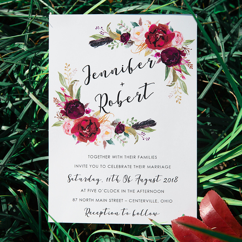 beautiful burgundy and blush wedding invitation