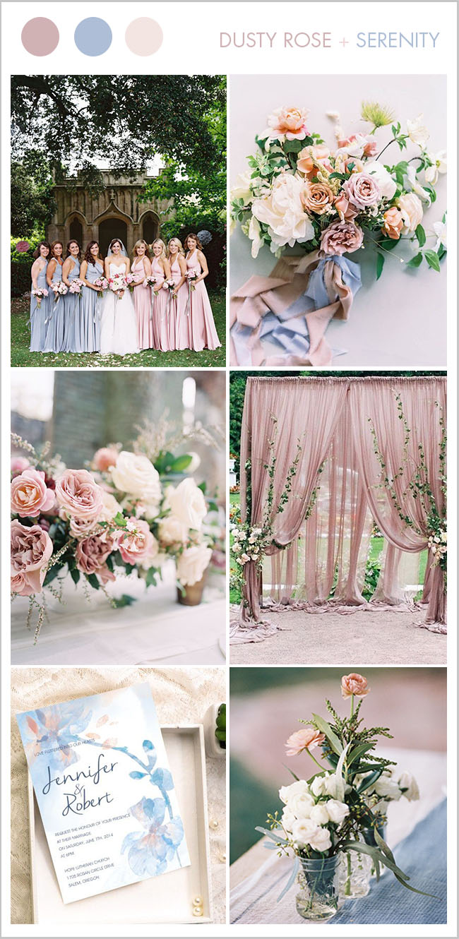 beautiful dusty rose and serenity blue summer and spring wedding colors
