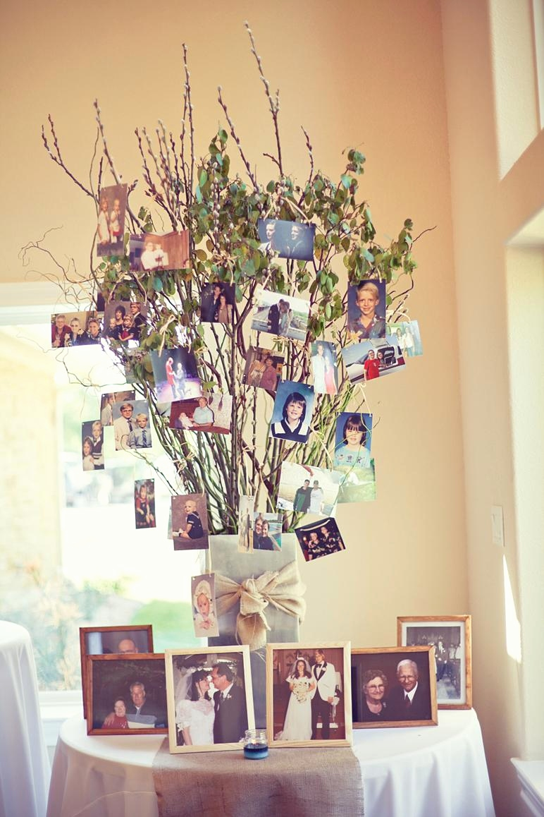 beautiful family tree wedding photo display ideas