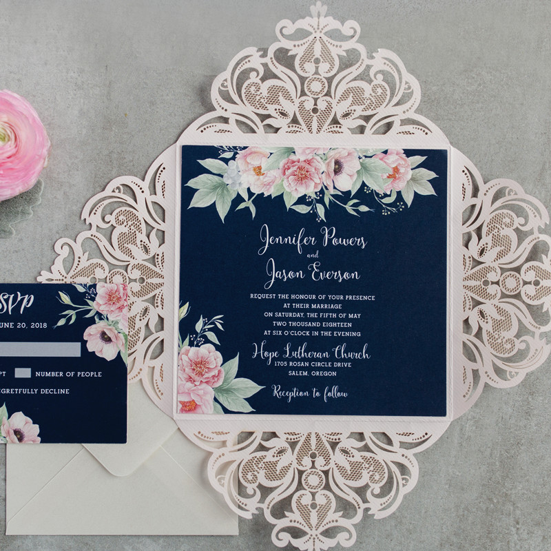 beautiful floral blush and navy classic wedding invites