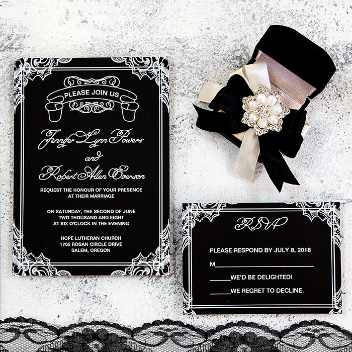 black chalkboard wedding invitation set for moody weddings