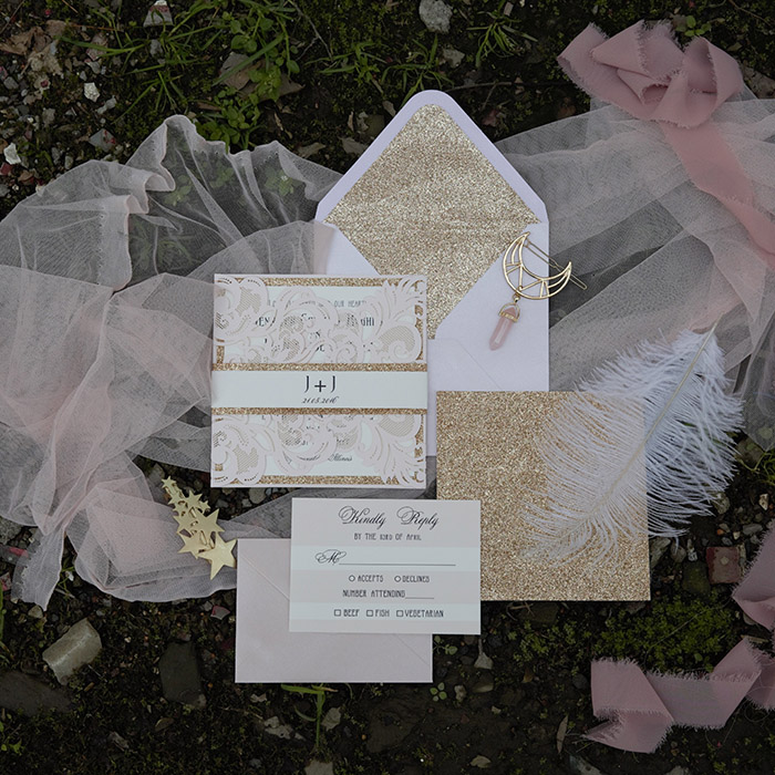 blush and glittery gold laser cut wedding invitations