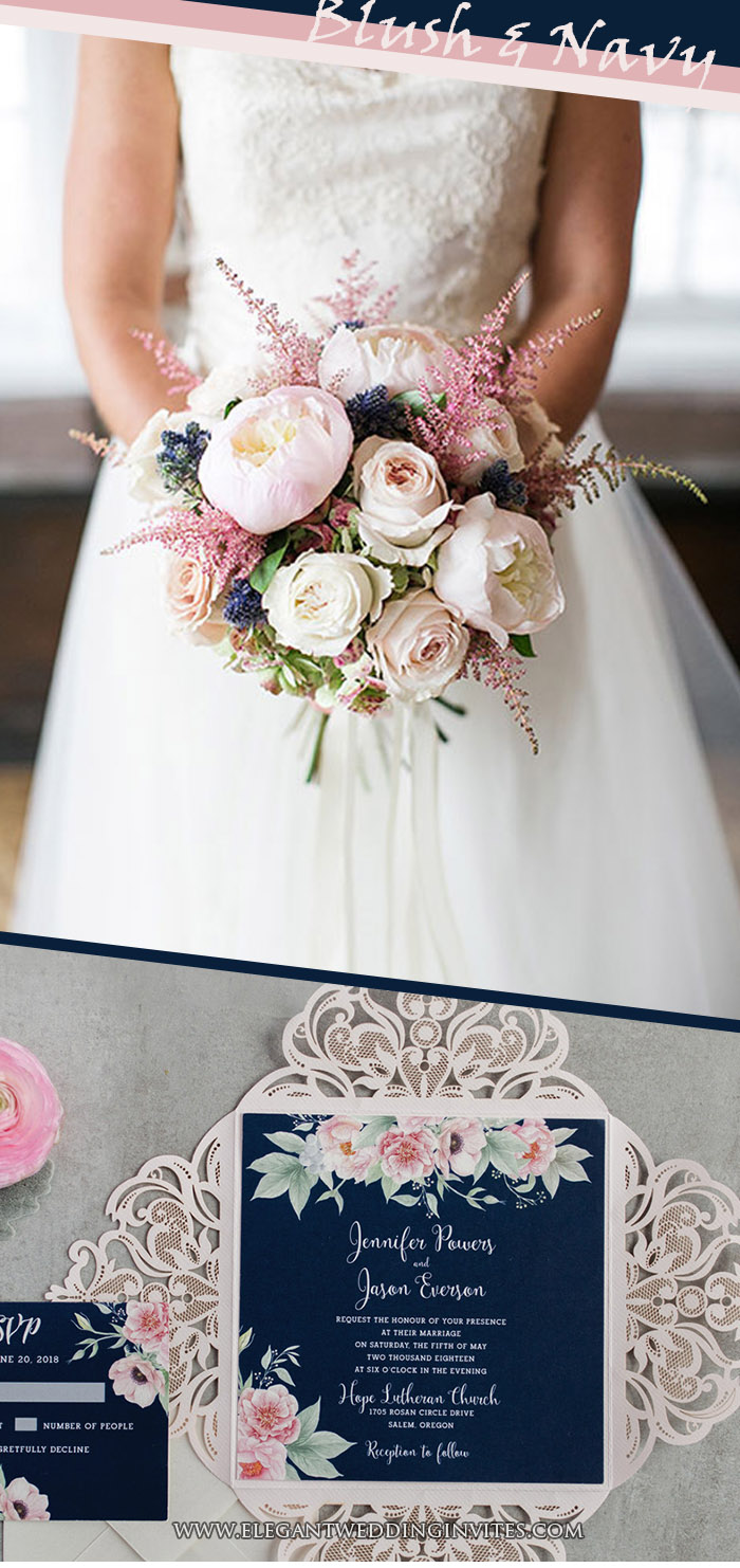 blush and navy classic wedding color ideas