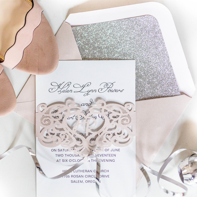 blush monogram laser wedding invitations