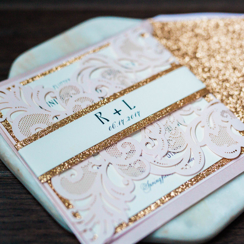 blush pink and glitter gold wedding invitations