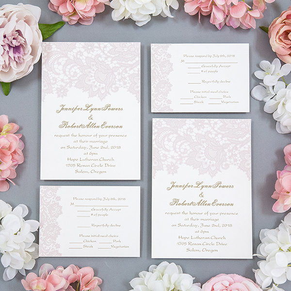 blush pink lace UV printing wedding invites