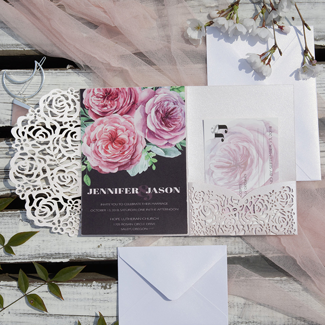 blush,pink and mauve laser cut wedding invitations