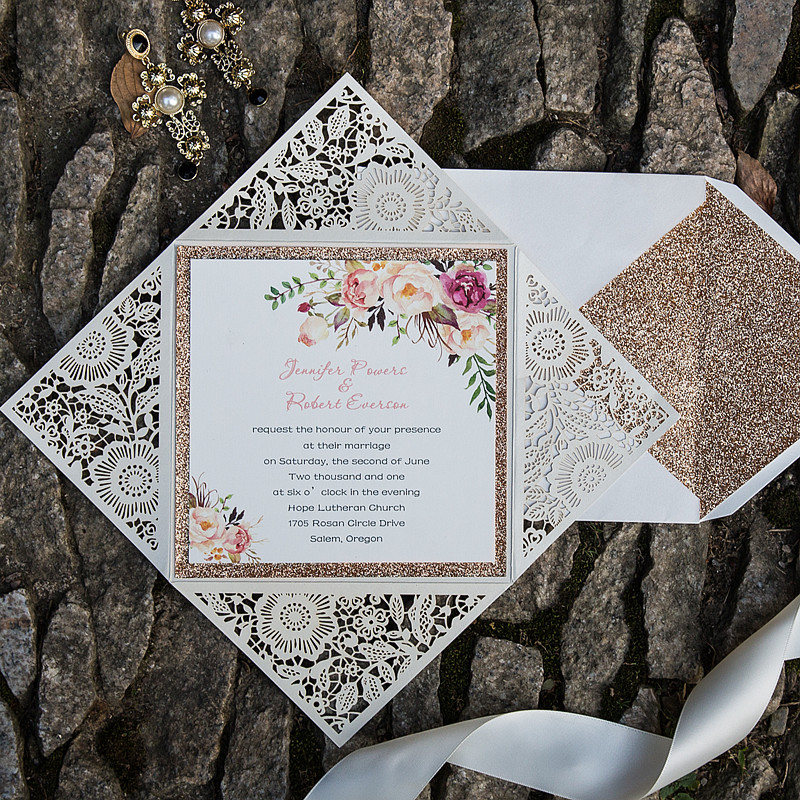 bohemian rustic flower glittery rose gold laser cut invitations