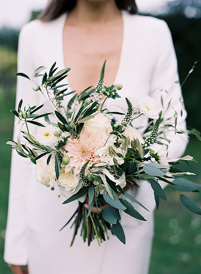 bridal bouquet of dahlia and eucalyptus plants