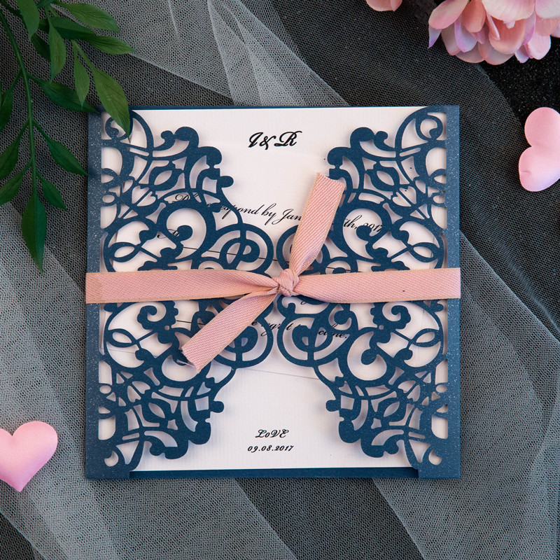 classic navy and blush pink laser cut wedding invitation
