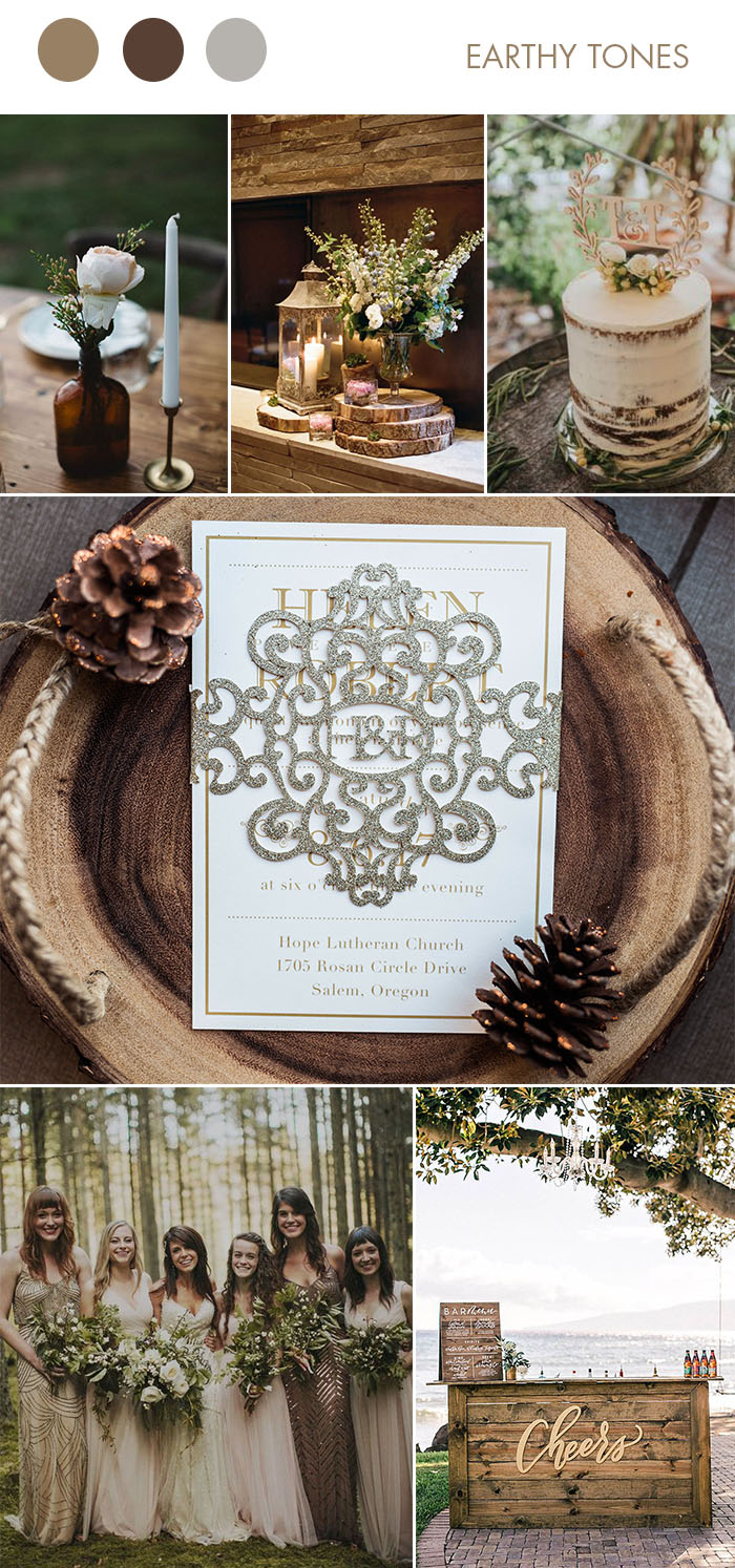 earthy tone woodland wedding color inspiration