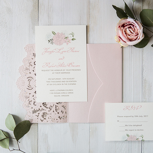 elegant blush pink wedding invitations
