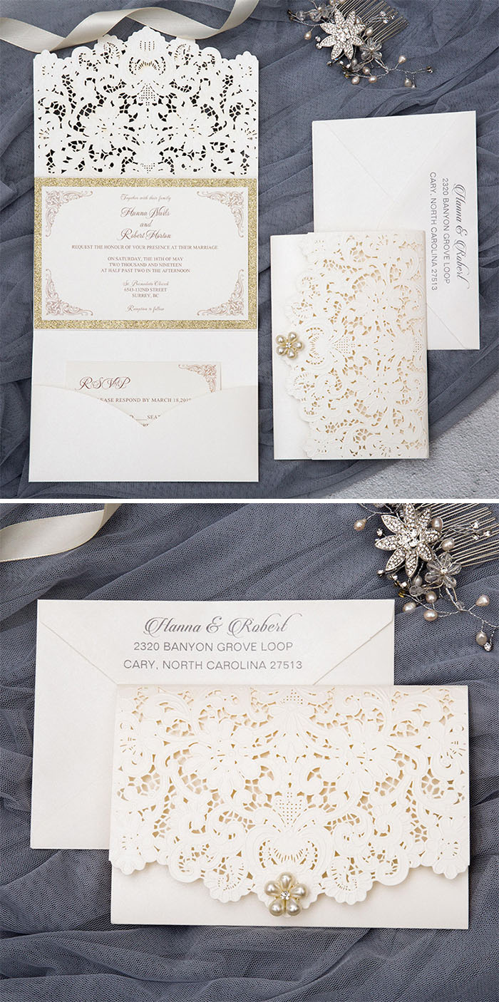 elegant ivory laser cut wedding invitation with pearl and glitter gold inner card