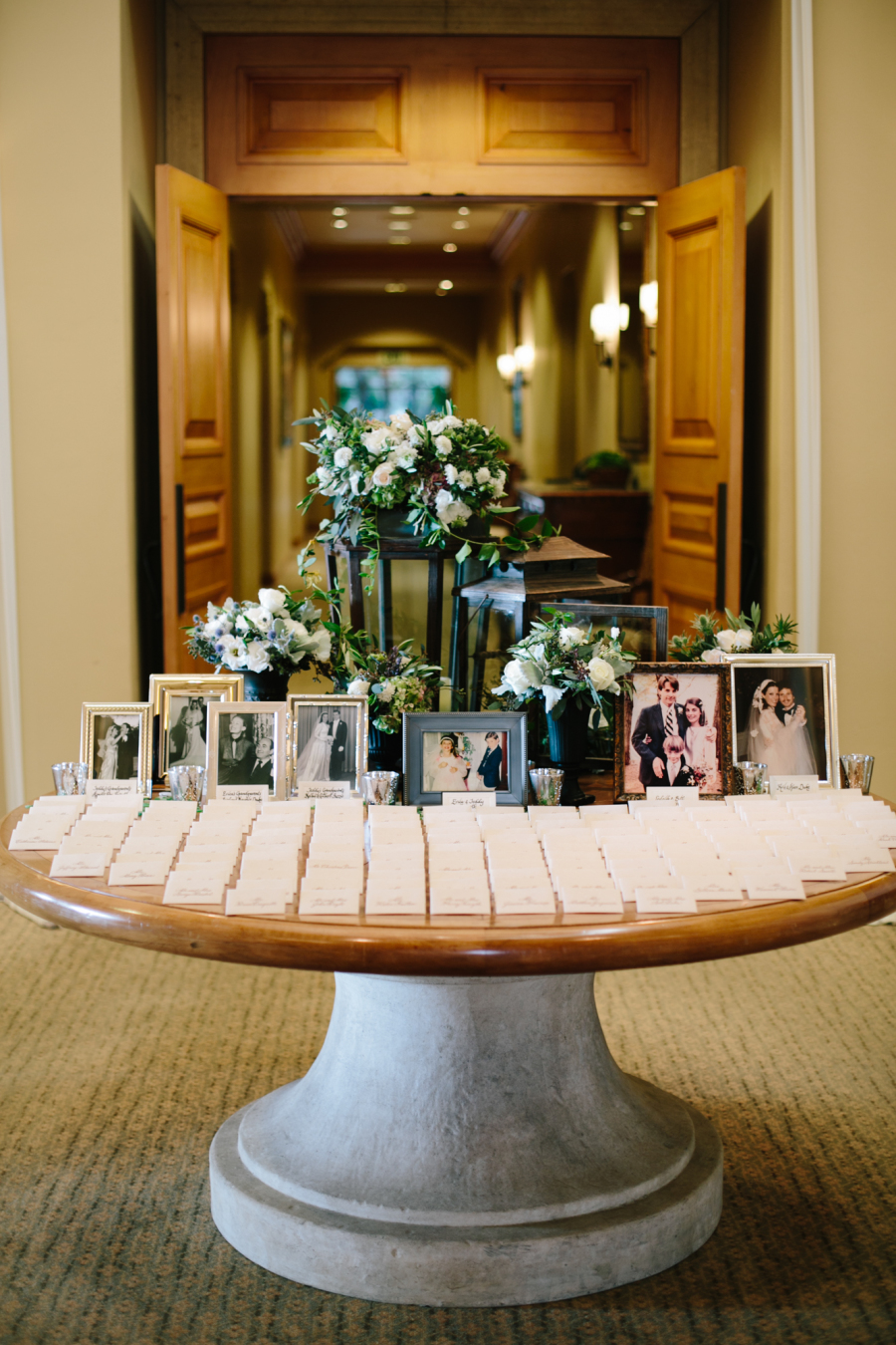 escort card and photo display wedding ideas