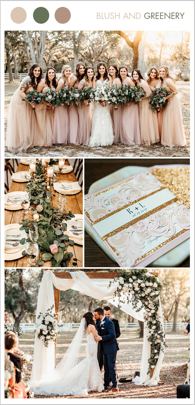fall rustic organic wooden blush wedding inspiration with glitter gold blush invitation